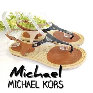 MICHAEL KORS leather rubber espadrille sandals 8.5